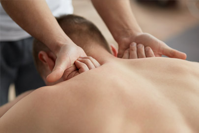 Woman receiving therapeutic massage